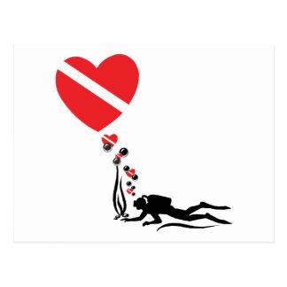 MERGULHADOR do amor Cartao Postal
