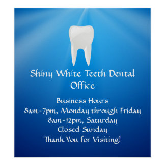 Mergulho azul dental ou escritório do dentista posteres
