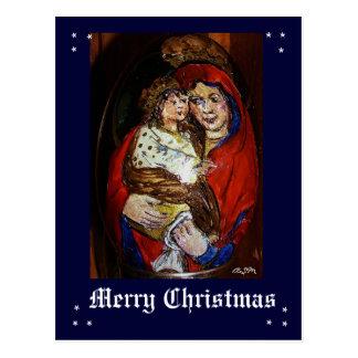 Merry Christmas - Maria +Jesus.Ikonen estilo Cartao Postal