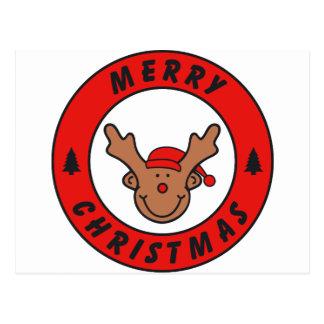 Merry Christmas Rudolf rena com baum Cartão Postal