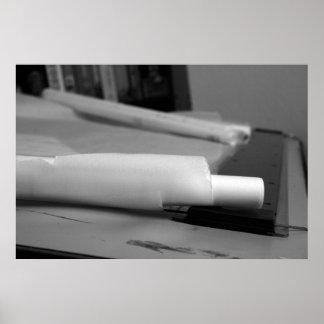 Mesa de esboço e impressão do escritório