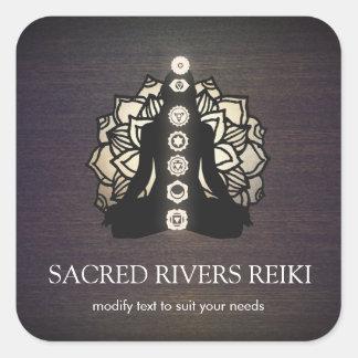 Mestre de Lotus Chakra Reiki do ouro e professor Adesivo Quadrado