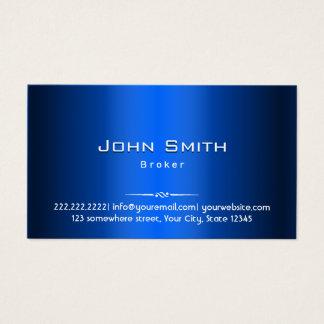 Metal do azul do corretor imobiliário cartão de visitas