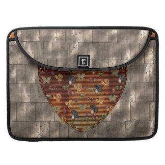 Metal e coração preto do cogumelo bolsa para MacBook pro