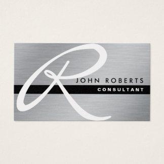 Metal elegante profissional da prata do monograma cartão de visita