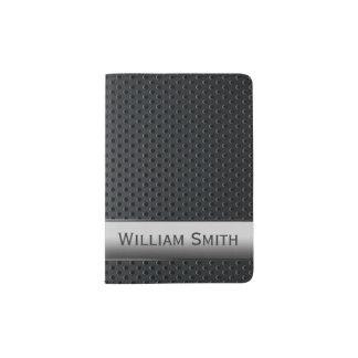 Metal escuro listrado de aço capa para passaporte