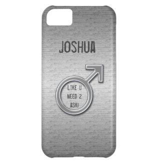 Metal masculino do sinal/falso+Nome Capa Para iPhone 5C