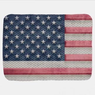 Metal que olha a bandeira americana patriótica cobertores para bebe