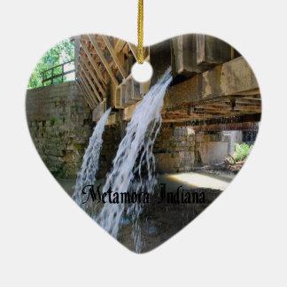 Metamora Indiana Ornamento De Cerâmica Coração