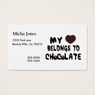 Meu coração pertence ao chocolate cartão de visitas