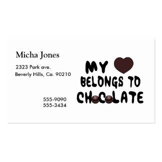 Meu coração pertence ao chocolate modelo cartões de visitas