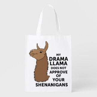 Meu lama do drama não aprova seus Shenanigans Sacolas Ecológicas Para Supermercado