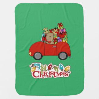 Meu ø Natal que conduz a rena Cobertores De Bebe