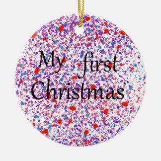Meu primeiro Natal Ornamento De Cerâmica Redondo
