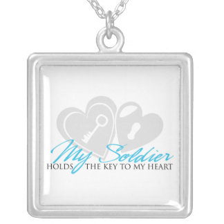 Meu soldado guardara a chave a meu coração colar com pendente quadrado