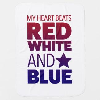 Meus batimentos cardíacos vermelho, branco e azul manta de bebe