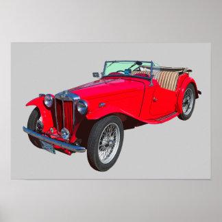 MG vermelho Sportscar antigo convertível Poster