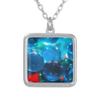 Miçanga de vidro azul Shinning Colar Banhado A Prata