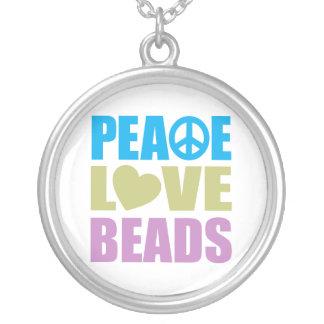Miçanga do amor da paz colar banhado a prata