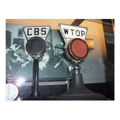 Microfones antigos cartoes postais