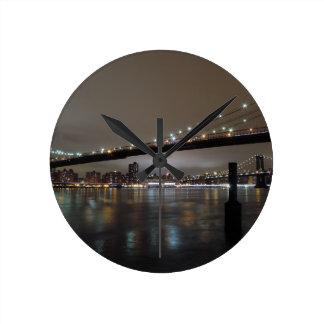 Midtown Manhattan na noite Relógios Para Pendurar