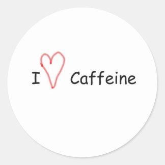 Mim cafeína do coração adesivos em formato redondos