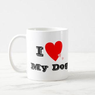 Mim coração (amor) minha caneca do cão