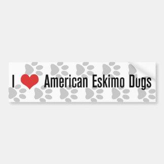 Mim (coração) cães Eskimo americanos Adesivo Para Carro