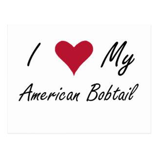 Mim coração meu Bobtail americano Cartão Postal