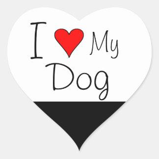 Mim coração meu cão adesivo coração