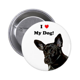 Mim coração meu cão! Cão preto Botons