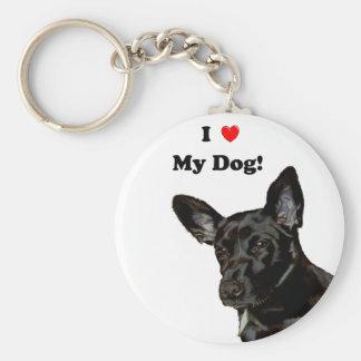 Mim coração meu cão! Cão preto Chaveiros
