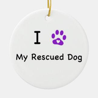 Mim coração meu cão salvado ornamento de cerâmica redondo