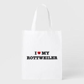 Mim coração meu saco reusável de Rottweiler Sacola Reusável