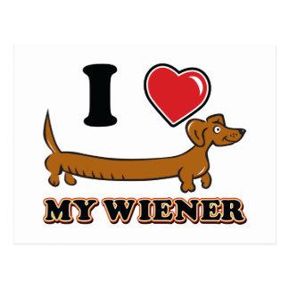 Mim coração meu Wiener do Dachshund Cartão Postal