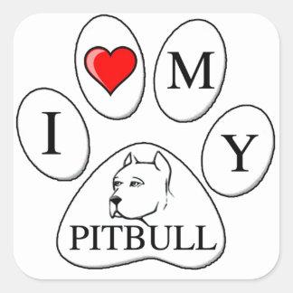 Mim coração minha pata do pitbull - cão, animal de adesivos quadrados