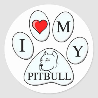 Mim coração minha pata do pitbull - cão animal de adesivos em formato redondos