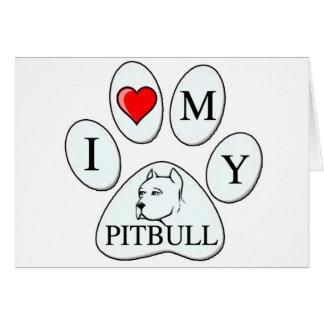 Mim coração minha pata do pitbull - cão animal de cartões