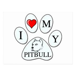 Mim coração minha pata do pitbull - cão, animal de cartão postal