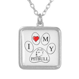 Mim coração minha pata do pitbull - cão, animal de colar com pendente quadrado