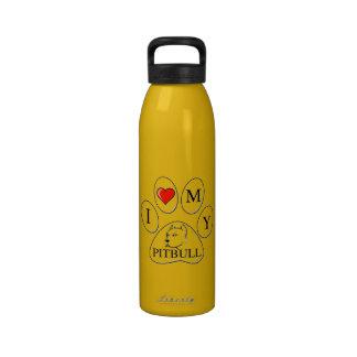Mim coração minha pata do pitbull - cão animal de garrafas de água esportivas