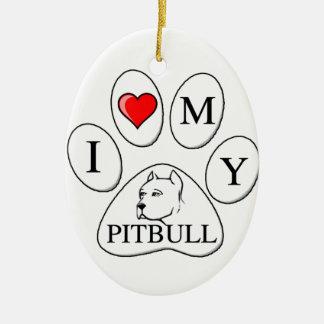 Mim coração minha pata do pitbull - cão, animal de enfeite para arvore de natal