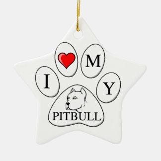 Mim coração minha pata do pitbull - cão animal de ornamento para arvores de natal
