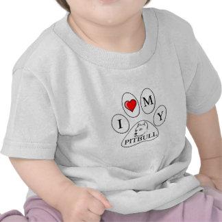 Mim coração minha pata do pitbull - cão, animal de t-shirts