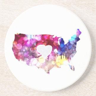Mim coração os EUA Porta Copos De Arenito