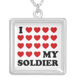 Mim (corações) meu soldado colar banhado a prata