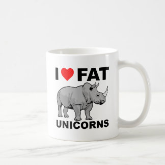 Mim do rinoceronte gordo do unicórnio do coração caneca de café