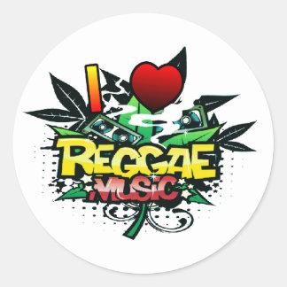 Mim música da reggae do coração adesivo redondo
