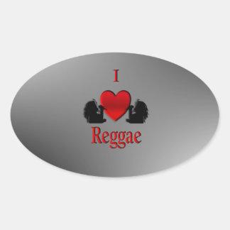 Mim reggae do coração adesivo oval