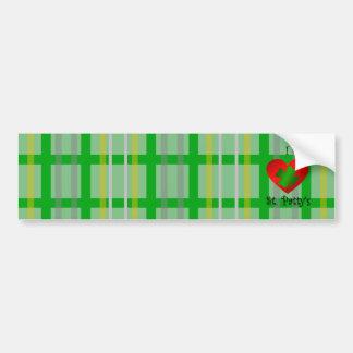 Mim rissol do santo do coração na xadrez do verde  adesivo para carro